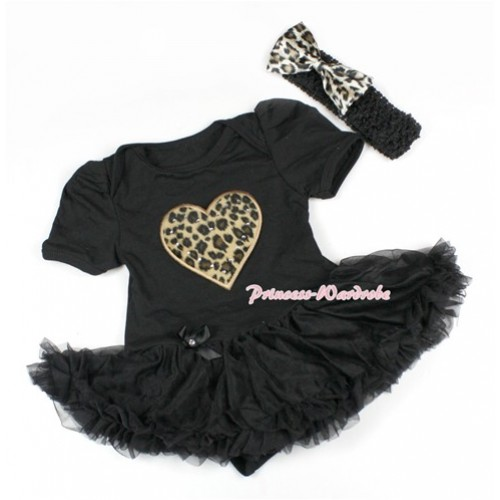 Black Baby Bodysuit Jumpsuit Black Pettiskirt With Leopard Heart Print With Black Headband Leopard Satin Bow JS1490