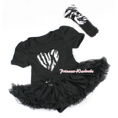 Black Baby Bodysuit Jumpsuit Black Pettiskirt With Zebra Heart Print With Black Headband Zebra Satin Bow JS1492