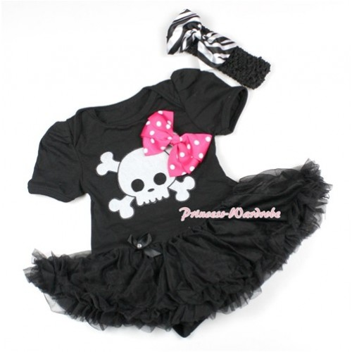 Halloween Black Baby Bodysuit Jumpsuit Black Pettiskirt With Hot Pink White Dots Ribbon Bow & White Skeleton Print With Black Headband Zebra Satin Bow JS1494