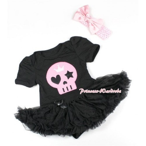 Halloween Black Baby Bodysuit Jumpsuit Black Pettiskirt With Light Pink Skeleton Print With Light Pink Headband Light Pink Satin Bow JS1497