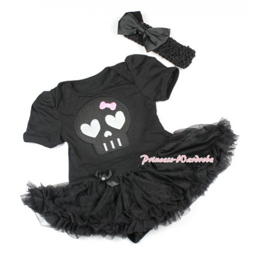Halloween Black Baby Bodysuit Jumpsuit Black Pettiskirt With Black Skeleton Print With Black Headband Black Satin Bow JS1498