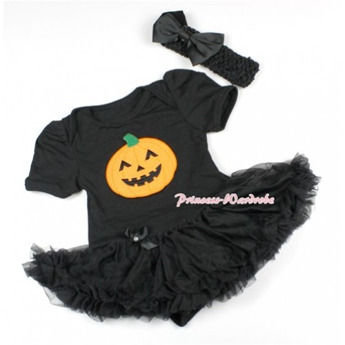 Halloween Black Baby Bodysuit Jumpsuit Black Pettiskirt With Pumpkin Print With Black Headband Black Satin Bow JS1499