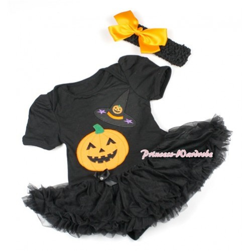 Halloween Black Baby Bodysuit Jumpsuit Black Pettiskirt With Pumpkin Witch Hat & Pumpkin Print With Black Headband Black Satin Bow JS1500
