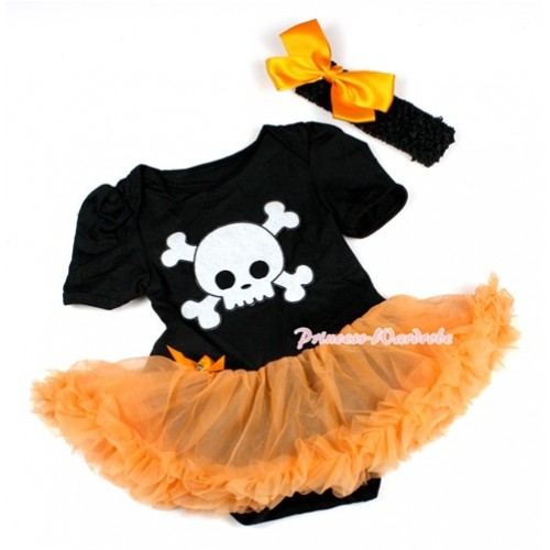 Halloween Black Baby Bodysuit Jumpsuit Orange Pettiskirt With White Skeleton Print With Black Headband Orange Silk Bow JS1502