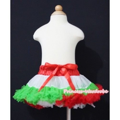 X'mas Hot Red White Dark Green NewBorn Baby Pettiskirt N089