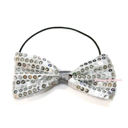 Sparkle Sequin Silver Boys Wedding Party Suit Bowtie Bow BT07