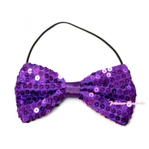 Sparkle Sequin Dark Purple Boys Wedding Party Suit Bowtie Bow BT08