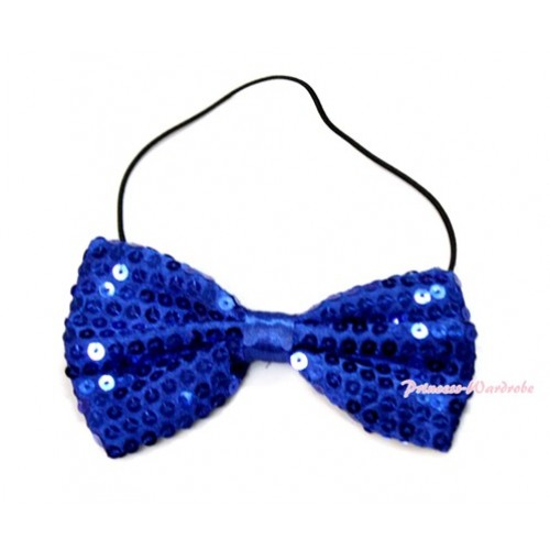 Sparkle Sequin Royal Blue Boys Wedding Party Suit Bowtie Bow BT09