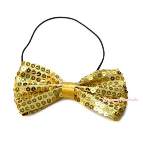 Sparkle Sequin Gold Boys Wedding Party Suit Bowtie Bow BT10