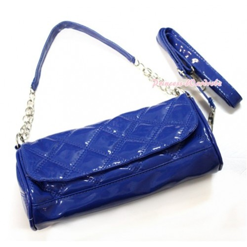 Royal Blue Long Diamond Checked Adult Girl Women Shoulder Handbag Purse With Strap CB100