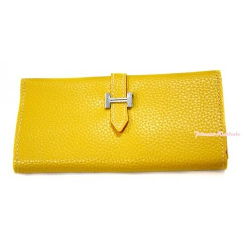 Yellow Leather Adult Women Long Clutch Purse Zipper Wallet CB92