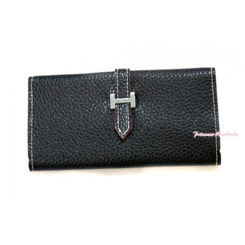 Black Leather Adult Women Long Clutch Purse Zipper Wallet CB94