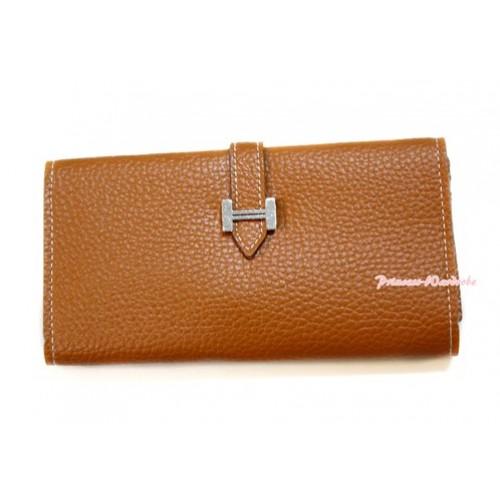 Brown Leather Adult Women Long Clutch Purse Zipper Wallet CB95