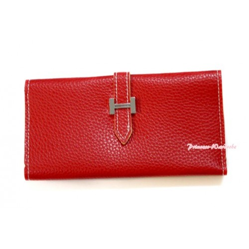 Hot Red Leather Adult Women Long Clutch Purse Zipper Wallet CB96