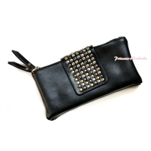 Black Round Pearl Zipper Clutch Handbag Purse Wallet CB99