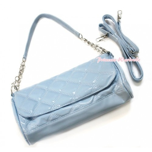 Light Blue Long Diamond Checked Adult Girl Women Shoulder Handbag Purse With Strap CB103