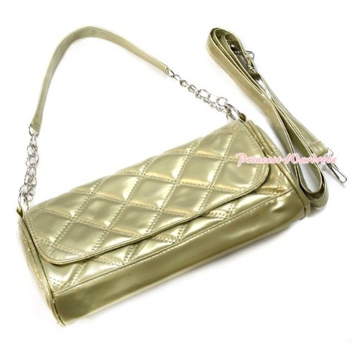 Gold Long Diamond Checked Adult Girl Women Shoulder Handbag Purse With Strap CB104