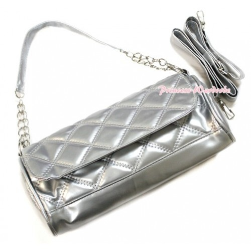 Silver Long Diamond Checked Adult Girl Women Shoulder Handbag Purse With Strap CB105