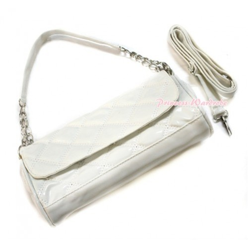 White Long Diamond Checked Adult Girl Women Shoulder Handbag Purse With Strap CB108