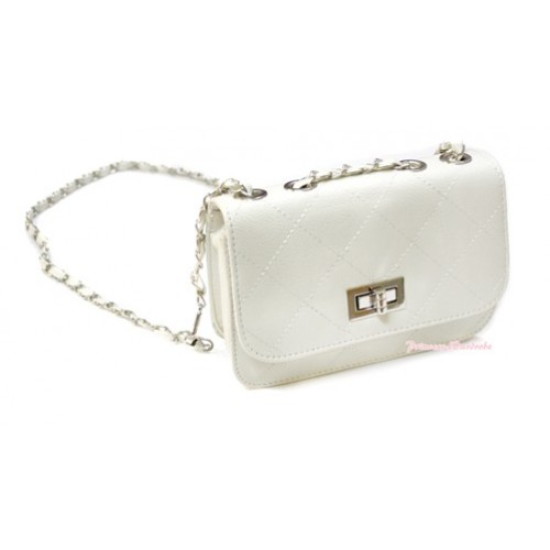 Gold Chain White Checked Leather Little Cute Petti Shoulder Bag CB111