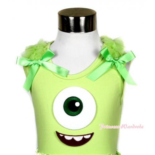 Light Green Tank Top with Big Eyes Monster Print with Light Green Ruffles & Bows TM221