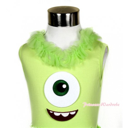 Light Green Tank Top with Big Eyes Monster Print with Light Green Chiffon Lacing TM222