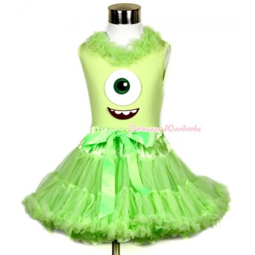 Light Green Tank Top With Light Green Chiffon Lacing & Big Eyes Monster Print With Light Green Pettiskirt MH080