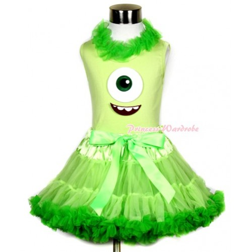 Light Green Tank Top With Dark Green Chiffon Lacing & Big Eyes Monster Print With Light Dark Green Pettiskirt MH081
