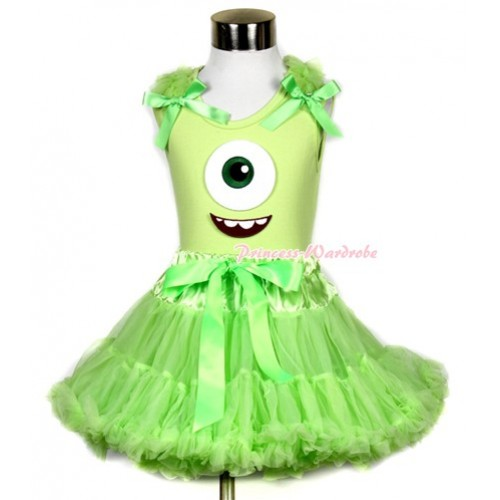 Light Green Tank Top With Light Green Ruffles & Light Green Bows & Big Eyes Monster Print With Light Green Pettiskirt MH082