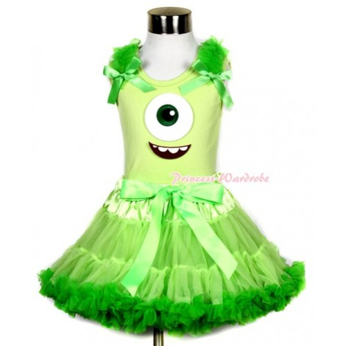 Light Green Tank Top With Dark Green Ruffles & Dark Green Bows & Big Eyes Monster Print With Light Dark Green Pettiskirt MH083