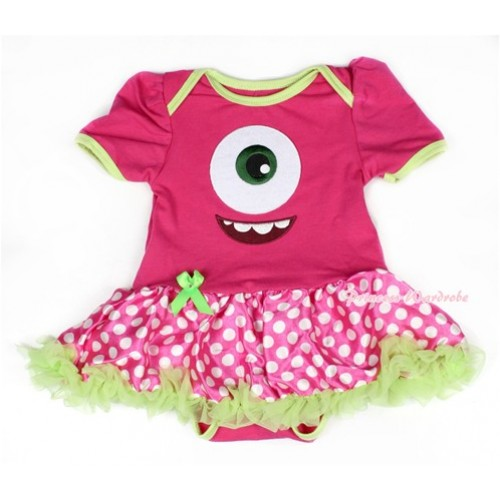 Green Brim Hot Pink Baby Bodysuit Jumpsuit Green Ruffles Hot Pink White Dots Pettiskirt with Big Eyes Monster Print JS1513