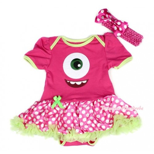 Green Brim Hot Pink Baby Bodysuit Jumpsuit Green Ruffles Hot Pink White Dots Pettiskirt With Big Eyes Monster Print With Hot Pink Headband Hot Pink White Dots Satin Bow JS1517