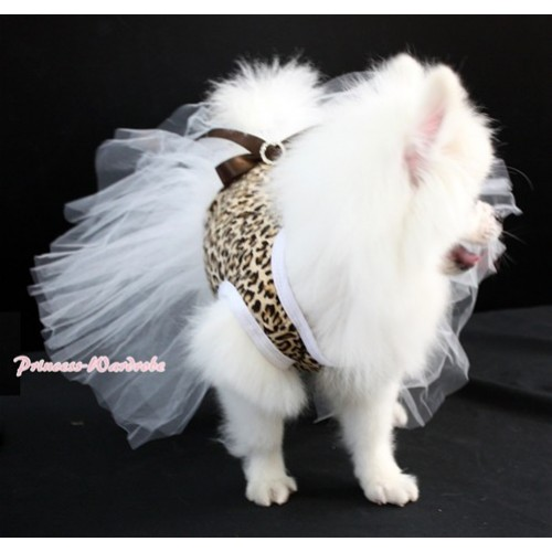 Leopard Sleeveless Pure White Gauze Skirt With Brown Rhinestone Bow Pet Dress DC020