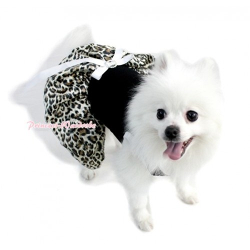 Black Sleeveless Leopard White Gauze Skirt With White Rhinestone Bow Pet Dress DC027