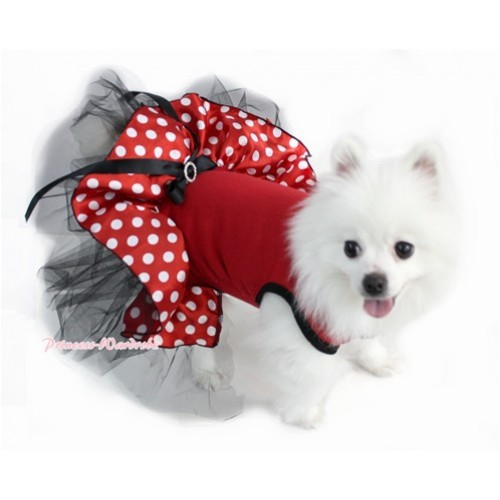Hot Red Sleeveless Minnie Polka Dots Black Gauze Skirt With Black Rhinestone Bow Pet Dress DC028