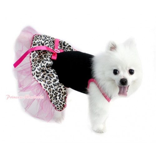 Black Sleeveless Hot Pink Leopard Gauze Skirt With Hot Pink Rhinestone Bow Pet Dress DC029