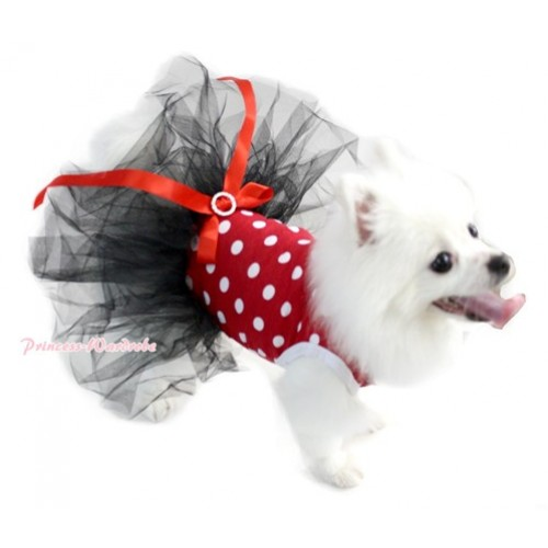Minnie Polka Dots Sleeveless Black Gauze Skirt With Red Rhinestone Bow Pet Dress DC031