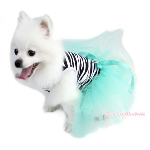 Zebra Sleeveless Aqua Blue Gauze Skirt With Aqua Blue Rhinestone Bow Pet Dress DC032