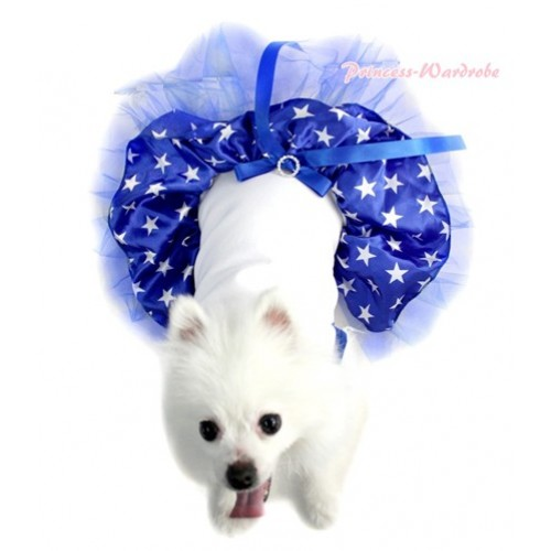 Royal Blue White Sleeveless American Stars Gauze Skirt With Royal Blue Rhinestone Bow Pet Dress DC033