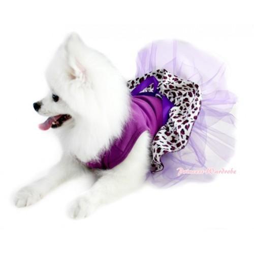 Dark Purple Sleeveless Dark Purple Leopard Gauze Skirt With Dark Purple Rhinestone Bow Pet Dress DC034