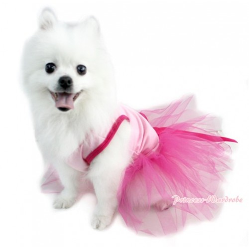 Light Pink Sleeveless Hot Pink Gauze Skirt With Hot Pink Rhinestone Bow Pet Dress DC039