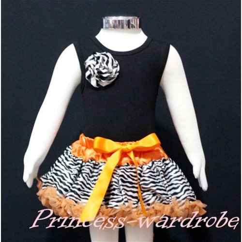 Black Newborn Pettitop & Zebra Rosettes with Orange Zebra Newborn Pettiskirt  NG160