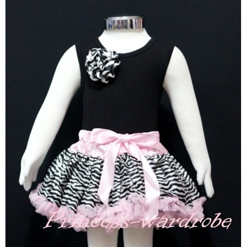 Black Newborn Pettitop & Zebra Rosettes with Light Pink Zebra Newborn Pettiskirt NG162