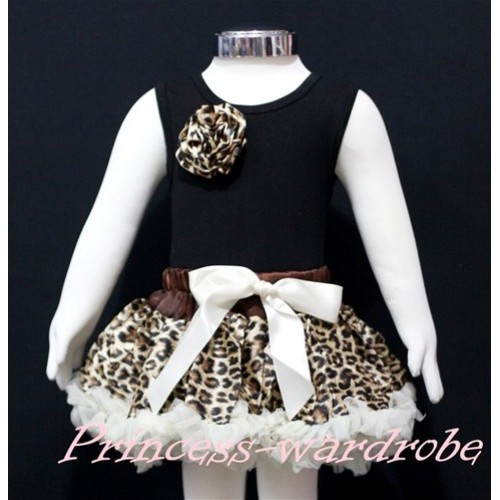Black Newborn Pettitop & Leopard Rosettes with Cream White Leopard Newborn Pettiskirt NG164