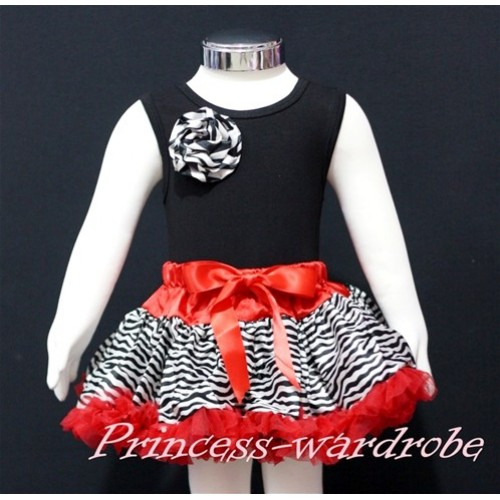 Black Newborn Pettitop & Zebra Rosettes with Red Zebra Newborn Pettiskirt NG165