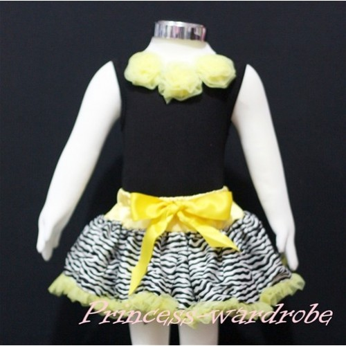 Black Newborn Pettitop & Yellow Rosettes with Yellow Zebra Newborn Pettiskirt NG155