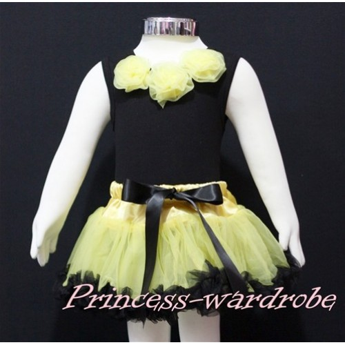 Black Newborn Pettitop & Yellow Rosettes with Yellow Black Newborn Pettiskirt NG156