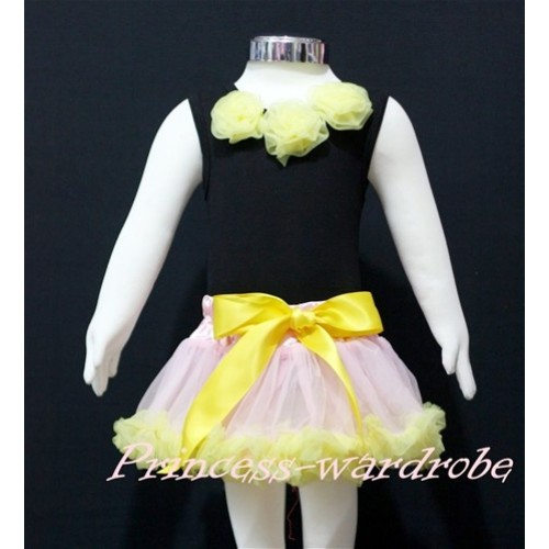 Black Newborn Pettitop & Yellow Rosettes with Light Pink Yellow Newborn Pettiskirt NG157