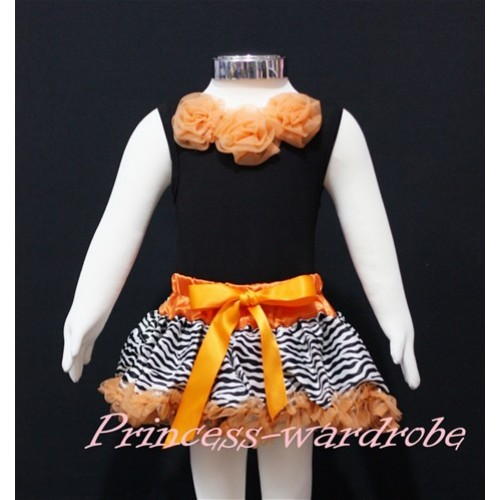 Black Newborn Pettitop & Orange Rosettes with Orange Zebra Newborn Pettiskirt NG166