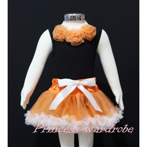 Black Newborn Pettitop & Orange Rosettes with Orange White Newborn Pettiskirt NG168